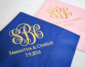 Custom Script Monogrammed Wedding Napkins, Personalized Beverage Napkins, Wedding Monogram Napkins, Foil Printed, Script Monogram