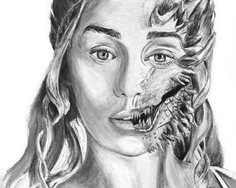 Khaleesi / Mother of Dragons oil painting - Print