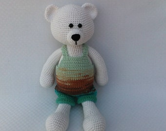 Amigurumi bear,Crochet bear,Stuffed bear,White crochet bear,Yarn bear,Plush bear