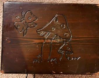 Vintage Hand-Carved Step Stool