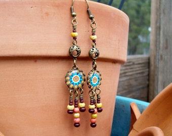 Kaleidoscope Dangles - Bohemian Earrings - Cabochon Chandelier Earrings