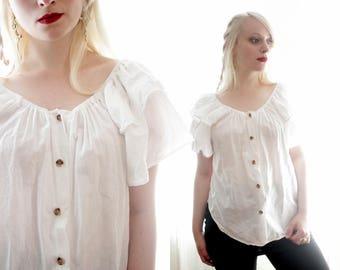 Vintage 1980s white cotton ruffle trim off shoulder wooden button blouse top shirt romantic ethnic style neutral 80s