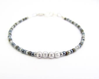 Gray Silver Beaded Bracelet, Urban Friendship Bracelet, Seed Bead Bracelet, Beaded Bracelet, Miss Ceces Jewels