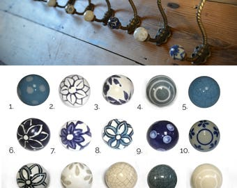 Shabby Chic Ceramic Knob Metal Coat Hooks with Various Coloured Porcelain China Door Knobs
