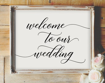Welcome to our Wedding - wedding printable sign, reception sign, greeting, calligraphy, elegant, love, table decor, table display, script