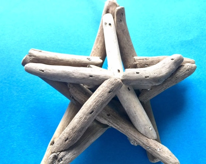Rustic driftwood star Christmas tree ornament handmade wooden star nautical holiday Outer Banks OBX BeachHouseDreamsHome