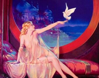 Sale LARGE 20x24 Canvas Sultana HAREM BELLY Dancer Henry Clive Fantasy Lingerie Nude Dove Deco Art Nouveau Glamour Pin-Up Illustrator Pinup