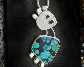 Hubei Turquoise Pendant, Silver Face Pendant, December Birthstone Necklace, Natural Blue Gemstone, Totem Mask Necklace, Modernist Jewelry