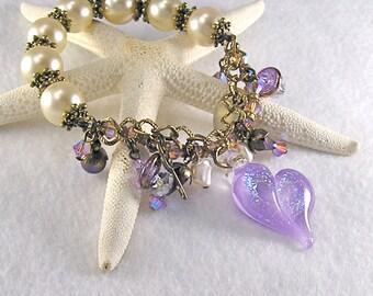 Lavender Ice, Lampwork Heart bracelet, Brides maid, Stretch charm bracelet, Lavender, off white, Purple, Pearl bracelet, Jewelry by Xanna