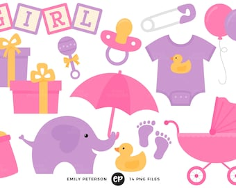 50% OFF SALE! Baby Shower Clip Art, Baby Girl Clipart, Nursery Clip Art - Commercial Use, Instant Download - V1