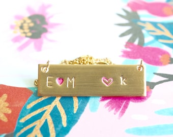 Personalized Mothers Day Bar Necklace, Custom Name Plate Necklace/Engraved Gold Bar Necklace/Custom Name Necklace/Handcrafted by Bare and Me