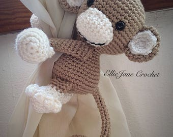 Monkey Tie Back, Window Curtain Tie Back, Kids Decor, Nursery Decor, Crochet Monkey, Baby Boy, Baby Girl