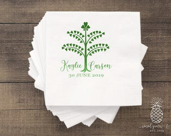 Heart Family Tree   Customizable Cocktail Wedding Napkins   social graces and Co