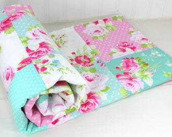 Baby Blanket, Nursery Decor, Minky Baby Blanket, Baby Quilt, Shabby Chic, Flower, Floral, Baby Shower Gift, Pink, Mint, Teal, Baby Girl