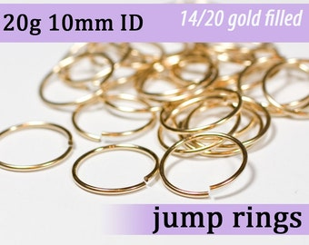 20g 10mm ID gold filled jump rings -- 20g10.00 goldfill jumprings 14k goldfilled
