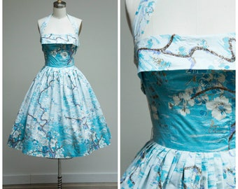 Vintage 1950s Dress • Spring Will Come • Blue Floral and Landscape Cotton Print 50s Halter Dress Size Small