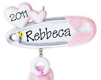 Personalized Baby's First Christmas Ornament Baby Pin Pacifier -Girl, Newborn, Baby Shower Gift Gift Tag