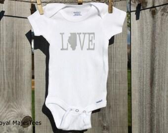 Love Illinois Onesies®, Baby Illinois Shirt