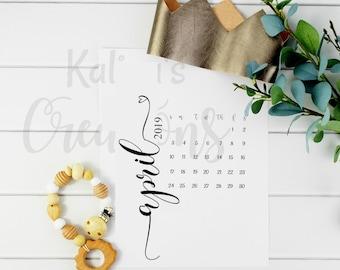 Digital Pregnancy Calendar / April 2019 Pregnancy Calendar Instant Download / April 2019 Pregnancy reveal calendar / social media