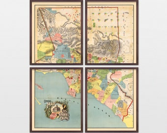 Los Angeles Map - Antique Map - Archival Reproduction - Los Angeles County - Los Angeles Art - Los Angeles Wall Art - Vintage Los Angeles LA