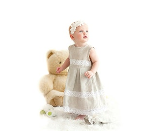 Linen girl dress - Linen baby girl dress and headband set - Flower girl dress and headband - Junior bridesmaid dress