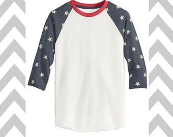Star Baseball Tee 3/4 Sleeve Unisex 4th of July Tee Patriotic T-Shirt Memorial Day Tank Funny Drinking Shirt 'MERICA Lake Shirt Patriotic
