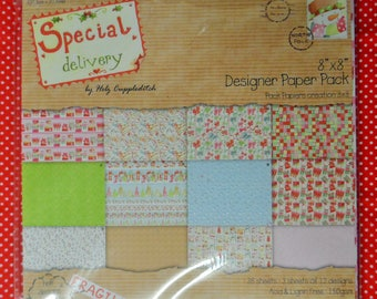 "Special Delivery 8"" x 8"" Designer Paper Pack 36 Sheets (3 sheets of 12 designs) half designs with glitter effects"