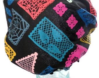 Shower Cap - Retro Horror Goth Skulls Ghosts Spiderwebs Lace Dias de Los Muertos Paper Cut Outs - Waterproof Bath and Beauty Hat