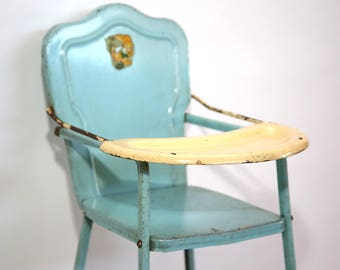 Amsco Metal Baby Doll High Chair With Bunny Decal 1950's