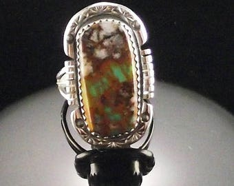 Green Boulder Turquoise Ring by Navajo Artist Richard T. Thomas