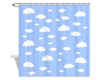Clouds Blue Sky Shower Curtain - Perfect Kids Bathroom Shower Curtain, Cloud, Personalized or Unpersonalized