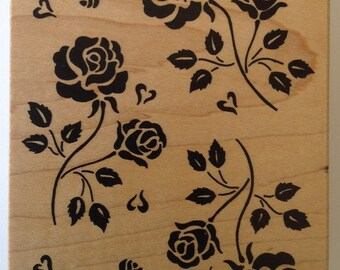 Rose Background Rubber Stamp