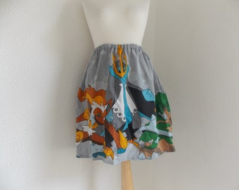 cute pokemon diamond and pearl strater evolutions handmade skirt vintage upcycled fabric one size