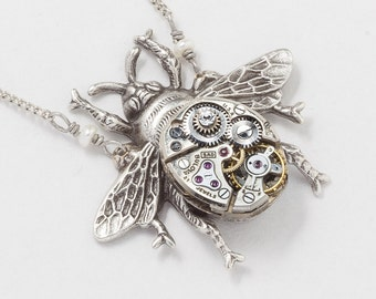 Steampunk Silver Bumble Bee Necklace Vintage Watch Movement with Gears, Pearl & Swarovski Crystal Pendant Statement Necklace Jewelry Gift