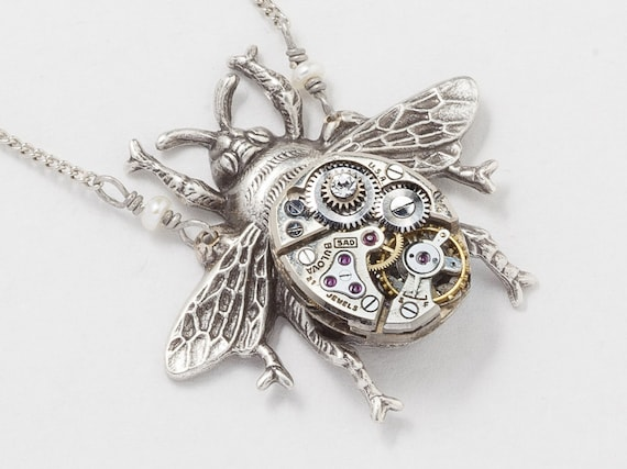 Silver bumblebee necklace bee pendant with vintage watch aloadofball Gallery