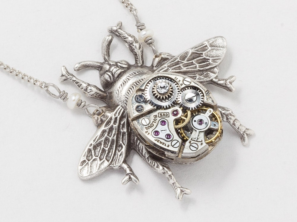 brushed uk dipped necklace small delicate pendant bumble bee gold chain jewellery products egret