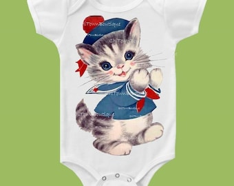 Sailor Kitty, One Piece, Baby tshirt ,Toddler T-Shirt, Baby Girls' clothing, Baby Boys', Kids clothes, ChiTownBoutique.etsy