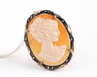 Vintage Cameo Necklace - Art Deco 800 Silver Marcasite Carved Shell Pendant - 1920s Woman Silhouette Classic Oval Elegant Brooch Pin Jewelry