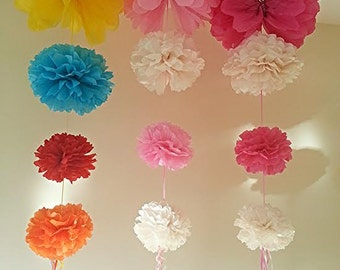 party wedding hanging ceiling decorations tissue paper pom poms  birthday baby shower