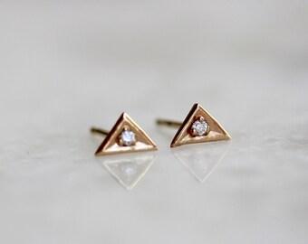 14K Diamond Triangle Stud Earrings