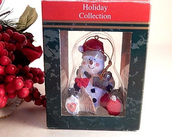 Snowman Christmas Tree Ornament Polyresin Holiday Collection Rustic Snowman Figurine