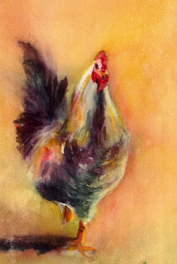 Charlie - signed watercolor print - rooster - chickens - farm animals - Bonnie White - watercolor chickens