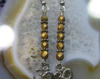 Ohm Earrings, Yoga Earrings, Meditation Jewelry, Om Gift