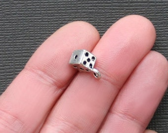8 Dice Charms Antique Silver Tone 3 Dimensional - SC1078