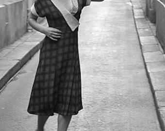 Vintage 1930s Crossover Collar Cap Sleeve Shirtwaist Frock Dress Sewing Pattern 2664 B34