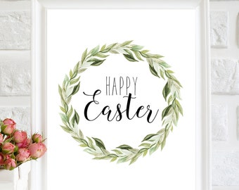 Happy Easter printable Easter print Easter laurel wreath print Easter Wall Decor Easter Wall art Happy Easter sign Easter gift Easter quote