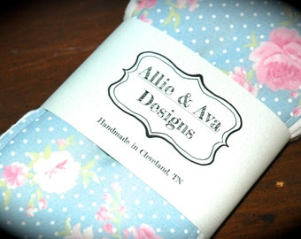 Blue Floral Burp Cloth Set