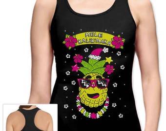Mele Kalikimaka Hawaiian Pineapple Ugly Christmas Racerback Tank Top