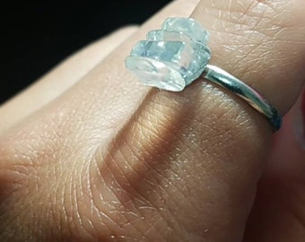 Opalite stacked stone adjustable ring