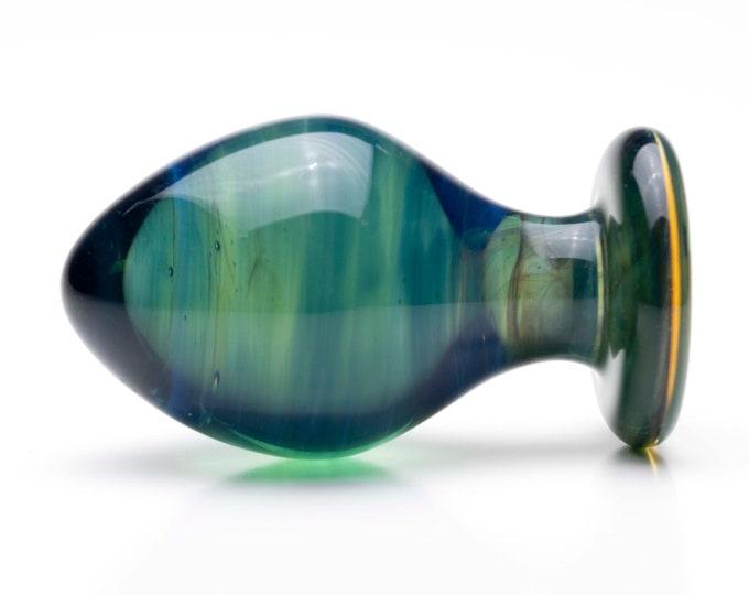 Glass Anal Plug - Large - Dark Aqua